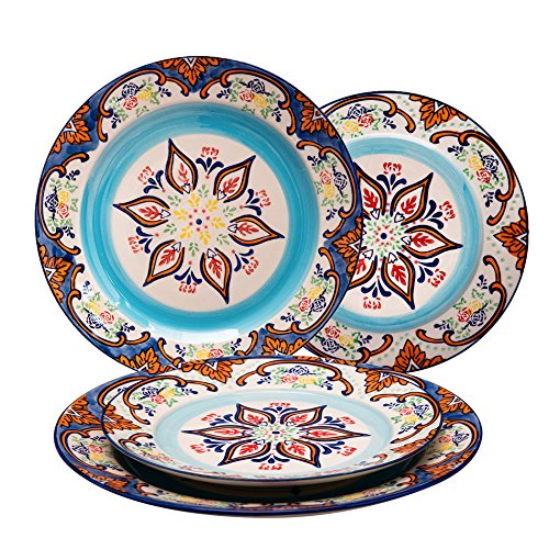 Stoneware Dinnerware Sets Accent Plates- 4 Piece Embossed Hand Painted Mexican Floral Design, Housewarming Gift Pack, -