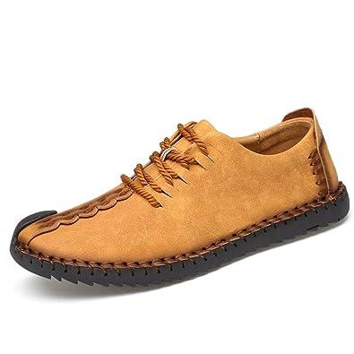 Phefee Herren Leder Schnürschuhe Business Halbschuhe Mokassins Freizeit Schuhe Lederschuhe Schnürschuhe Sneaker(Gelb 40) qE0Pj