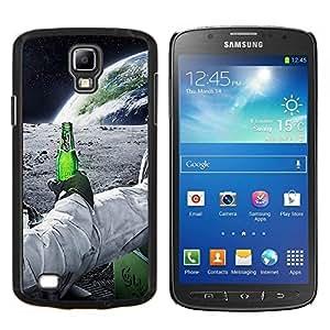 Astronauta de la cerveza- Metal de aluminio y de plástico duro Caja del teléfono - Negro - Samsung i9295 Galaxy S4 Active / i537 (NOT S4)