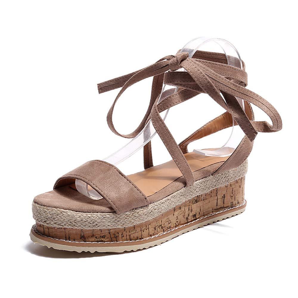 Womens Wedge Sandals,Star/_wuvi Summer Rome Lace Up Beach Sandals High Heel Platform Peep Toe Shoes