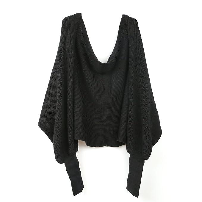 molto carino 33e00 7ba1b LEORX Donne sciarpa scialle mantella con maniche lavorata a maglia (nero)