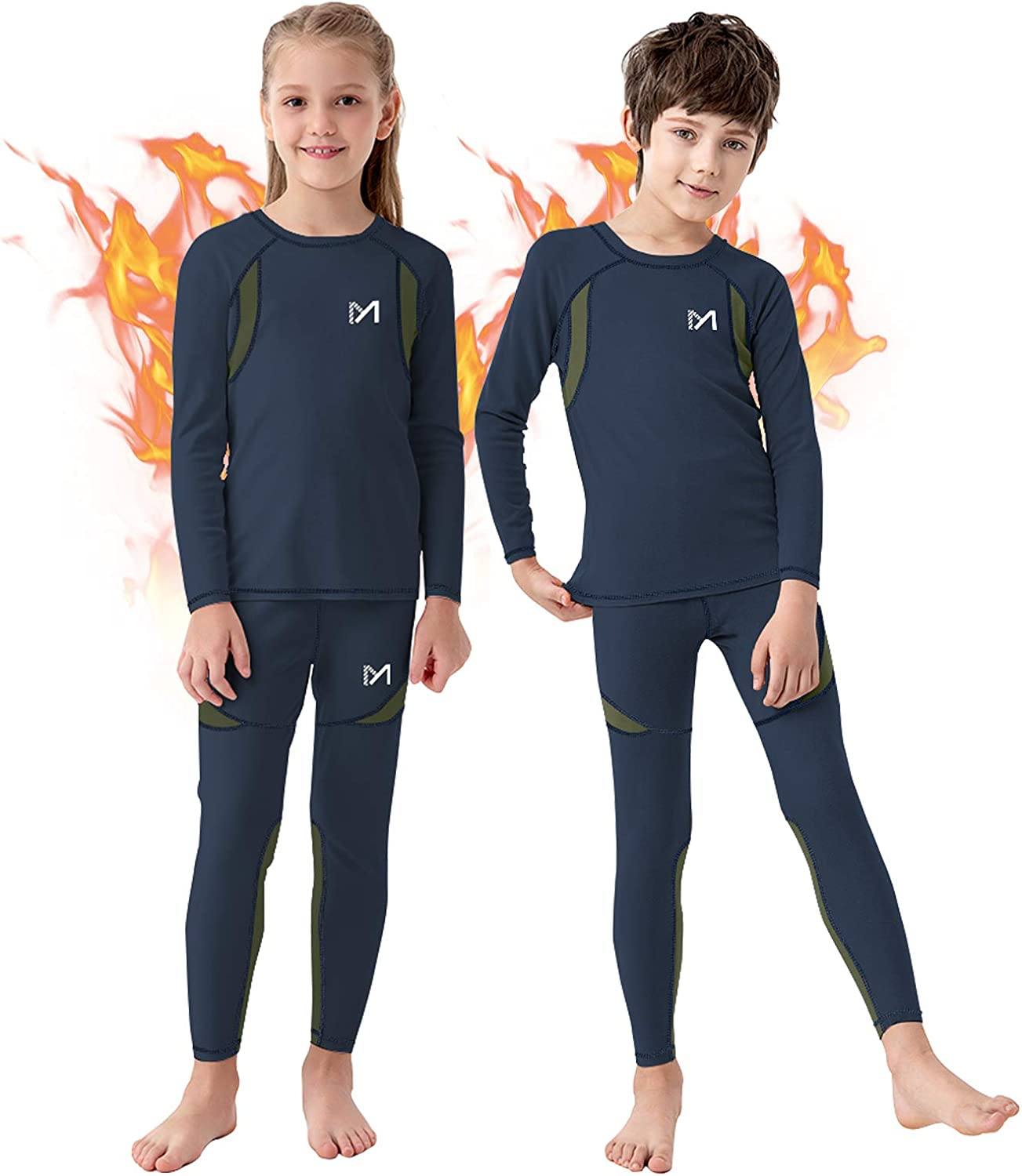 Rocky Thermal Underwear for Boys Fleece Lined Thermals Kids Base Layer Long John Set blue X-Small