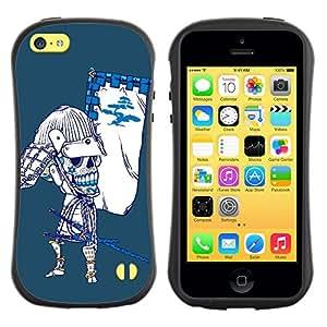 LASTONE PHONE CASE / Suave Silicona Caso Carcasa de Caucho Funda para Apple Iphone 5C / Cool Japanese Sugar Skull Samurai Bow Skeleton
