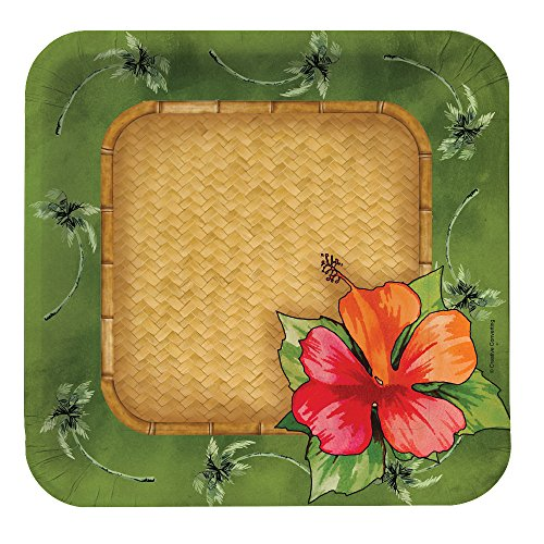 Creative Converting 8 Count Square Paper Dessert/Lunch Plates Bamboo Weave  sc 1 st  Amazon.com & Tropical Paper Plates: Amazon.com
