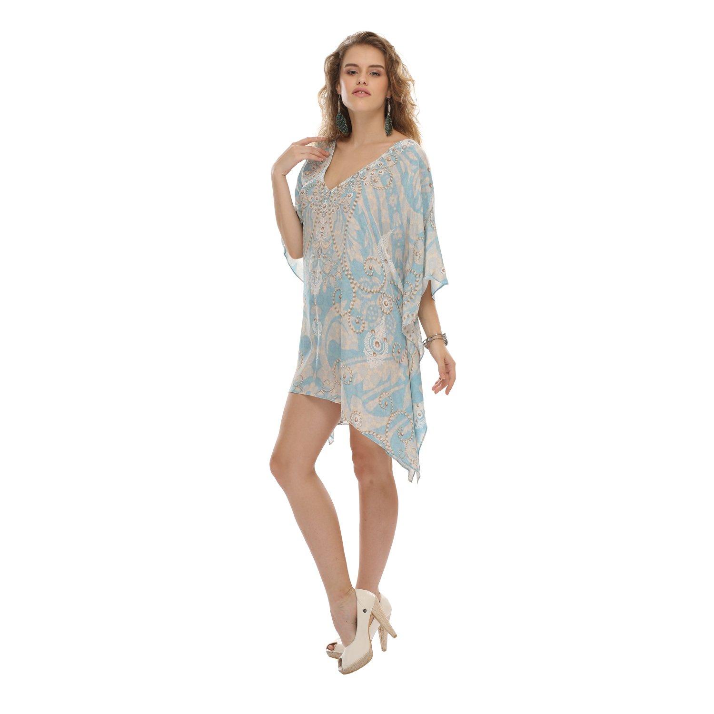 Light bluee D G PRINTS FAB Women's Turkish Kaftan Beachwear Swimwear Bikini Cover ups Beach Dress