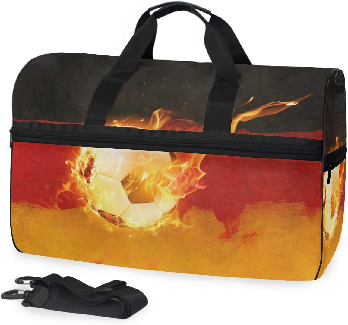 MUOOUM Flag Of The Germany Unique Fire Soccer Large Duffle Bags Sports Gym Bag with Shoes Compartment for Men and Women