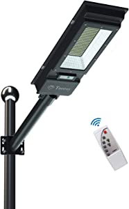 Solar Street Lights-10000LM Solar Powered Street Lamp Dusk to Dawn with Remote Control for Yard, Garage, Patio, Garden, Swimming Pool, Pathway, Basketball Court