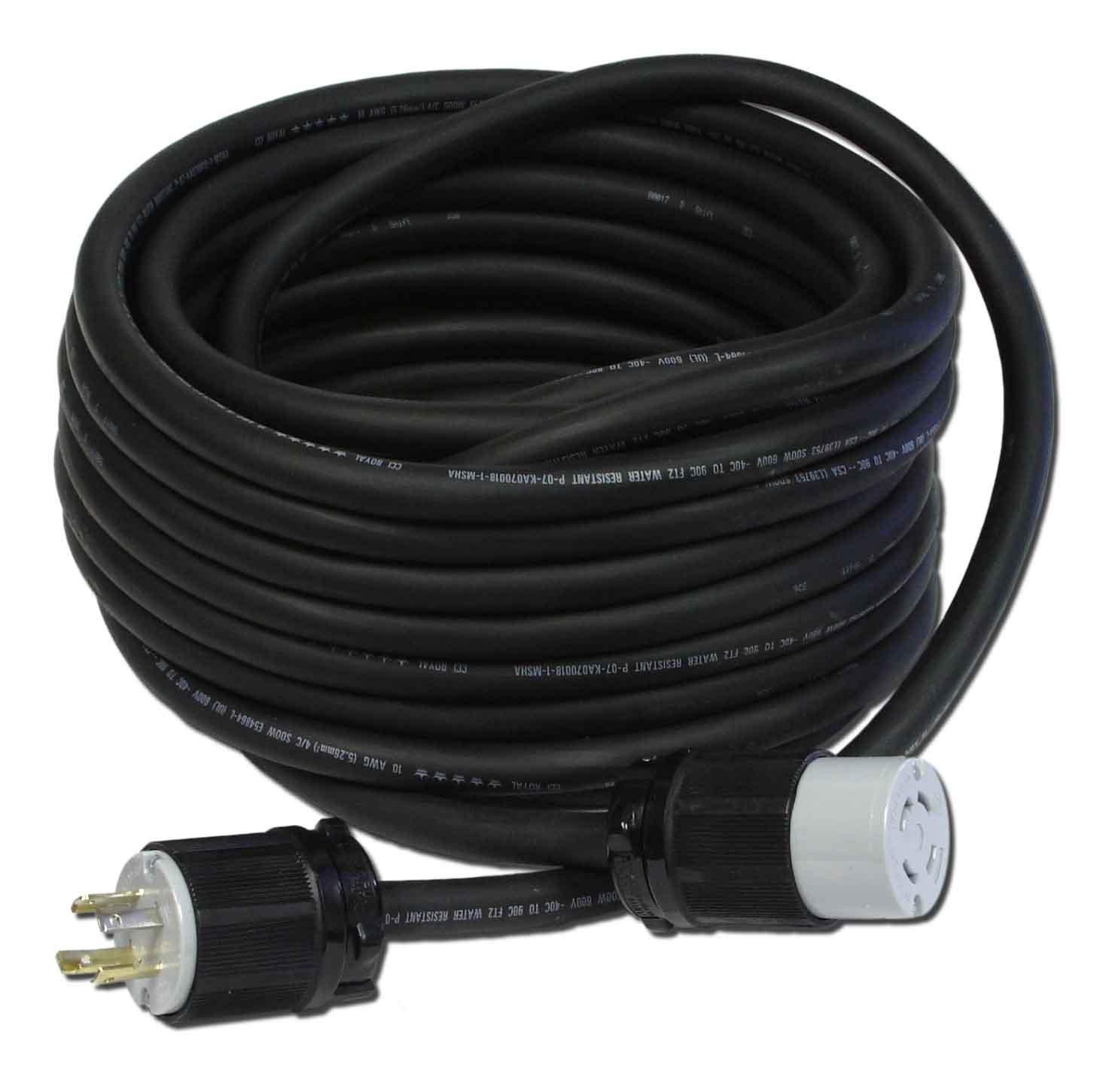 Powertronics Connections NEMA L14-30 50' cord 50-Feet 30-Amp L14-30 Generator Power Cord for Upto 7500-watt Generators
