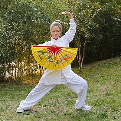13 Dragon Design Kong Fu Fan Yellow