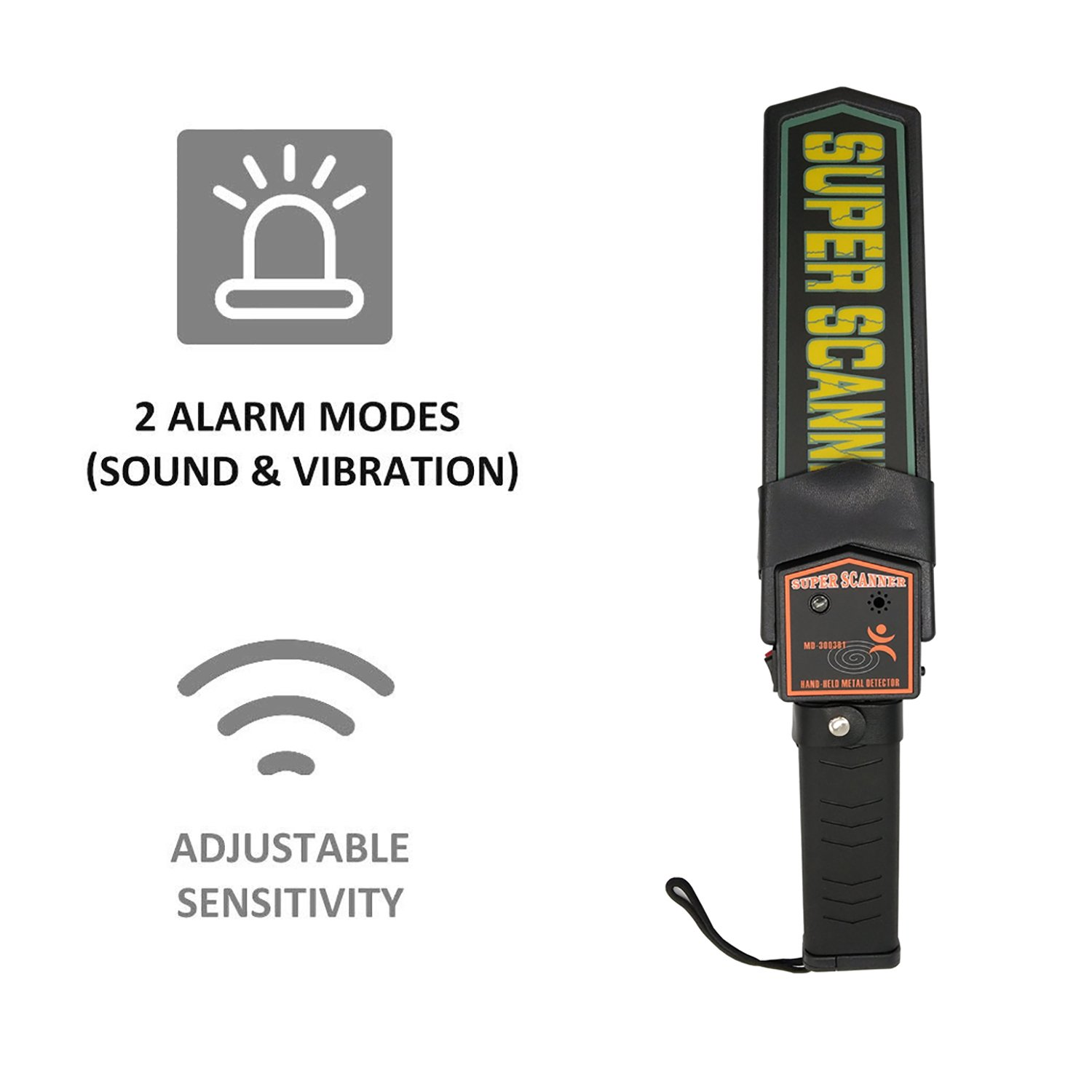 Amazon.com : KAMURES Handheld Metal Detector Security Scanner Wand with 9V Battery and Belt Holster, Adjustable Sensitivity, Sound & Vibration Modes for ...
