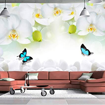 Amazon Com Xbwy Modern Simple White Flowers Butterfly Photo