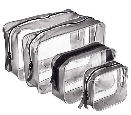 Juego de 4 bolsas transparentes de PVC con cremallera ...
