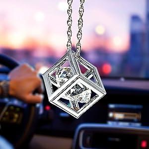 Clear Diamond Cube Crystal Car Rear View Mirror Charms, Bling Car Accessories, Sun Catcher Hanging Ornament w/Chain, Car Charm & Home Decor Ornament (Clear)