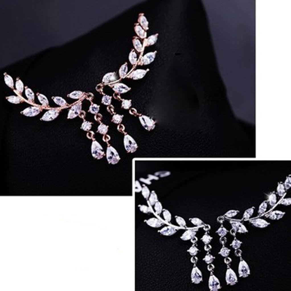 Amazon.com: Womens Earrings,Elegant Crystal Rhinestone Leaves Tassel  Earring Stud Earrings Party Jewelry Axchongery (Rose Gold, 1 Pair): Clothing