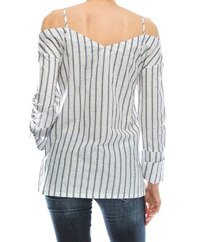 b40f5c40e7c8b7 Mono B Striped Reworked Off Cold Shoulder Deconstructed Shirt Button Down  Ivory and Blue Blouse Small Top at Amazon Women's Clothing store: