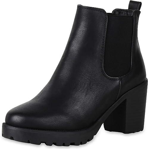 SCARPE VITA Damen Stiefeletten Chelsea Boots mit Blockabsatz Profilsohle