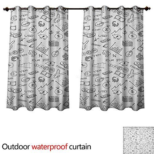 Anshesix Money 0utdoor Curtains for Patio Waterproof Monochrome Pattern with Euro Dollar Yen Symbols Coins Piggy Bank Stock Graphs Doodle W55 x L72(140cm x ()
