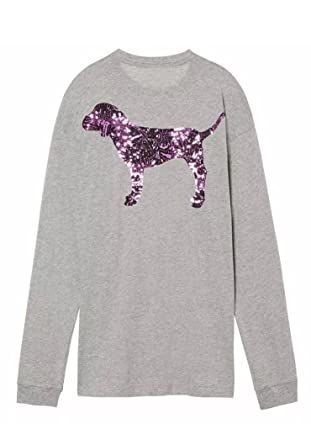 0f6bb96f1976a Victoria s Secret PINK Hibiscus Floral Bling Dog Logo Long Sleeve Campus Tee  Medium