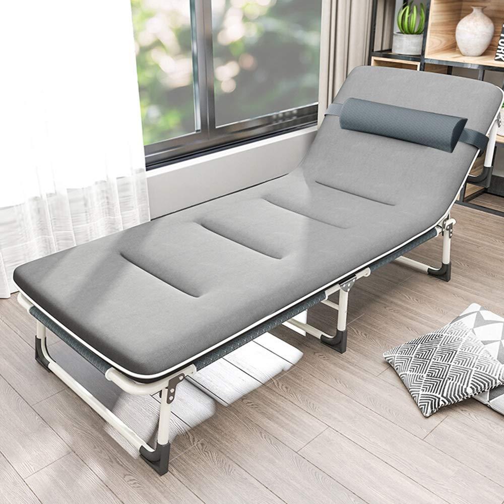 MISHUAI Klappbett, Klappbett Schlafsofa Büroschlaf Bett mit Wattepad for Innen Büro Balkon Terrasse Garten Strand Außen Einfache Stapelung und Lagerung (Farbe : Grau, Größe : 190X62X32CM)
