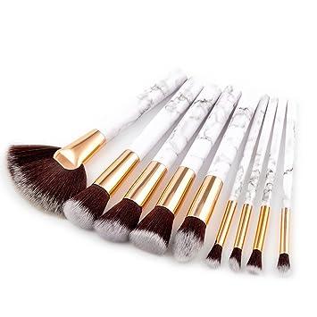 ea43a1acb044 Zerototens 9Pcs Marble Cosmetic Makeup Brush Blusher Eye Shadow Brushes Set  Kit,Women Ladies Professional Makeup Brush Grooming Brush Beauty Makeup ...