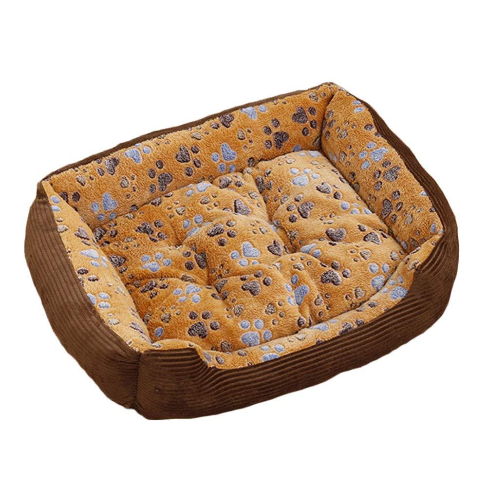 Brown 4531cmPet nest Corduroy PP cotton Mattress Suitable for dogs Cats Small animals Pet nest (color   BROWN, Size   45  31cm)