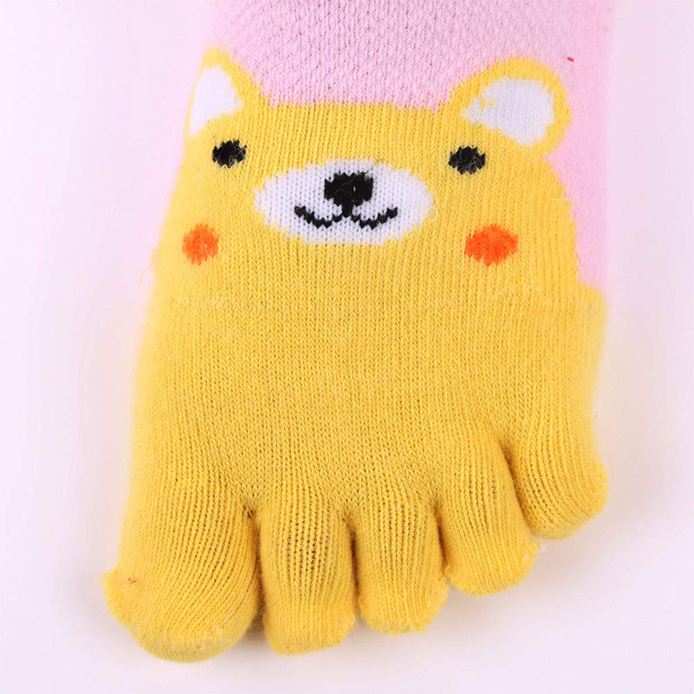 Toddler Baby Kids Five Fingers socks,Cartoon Animal Anti Slip Cotton Toe Socks