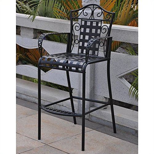 International Caravan Mandalay Iron Bar Bistro, Antique Black  (Set of 3)