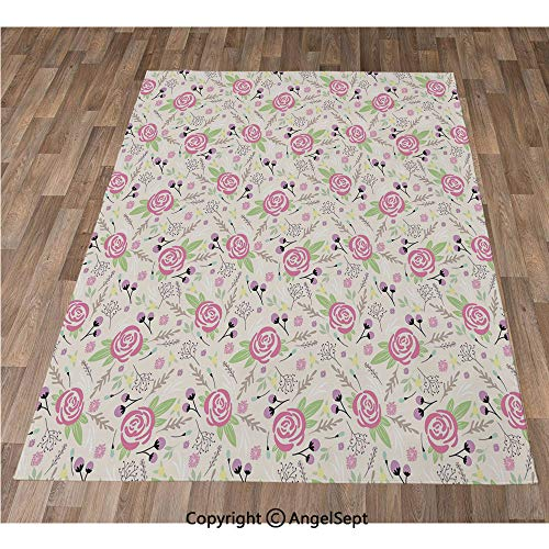 Non-Slip Super Soft Rugs Cozy Kids Bedroom Living Room Carpet 40x63in,Artistic Composition with Rose Blooms Flower Buds Lively Summer Dahlia Ornaments,Multicolor Indoor/Outdoor Area Runners & Stair R