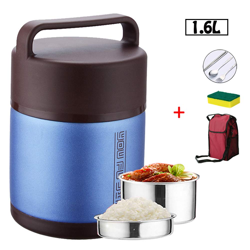 with Folding Spoon Leak-Proof Thermal Soup Flask,Blue,1.6L SHOW-WF Insulated Container for hot School Lunch Storage Bag and Sponge Brush