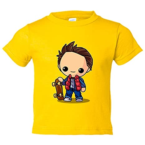 Camiseta niño Chibi Kawaii Marty McFly parodia de Regreso al Futuro Nikochan - Amarillo, 3