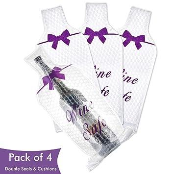 ikkle Recipiente para Botellas Fundas para Vino, Líquido Doble Sello Protector de la Bolsa, Paquete 4, Cremallera de plástico y Sellos plegados, ...