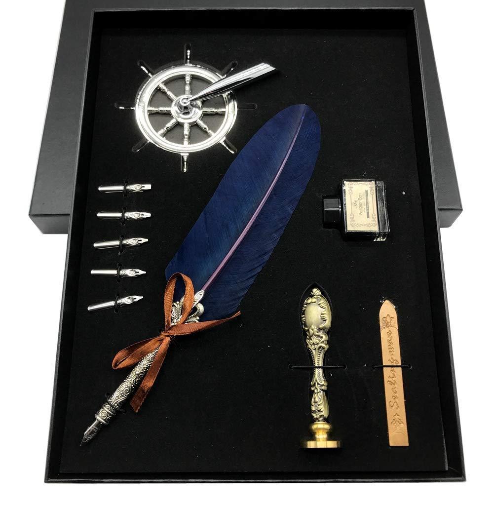 W.D Dip Pen Set Antique Feather Luxury Metal Copper Antique Feather Calligraphy Pen Set (navy)