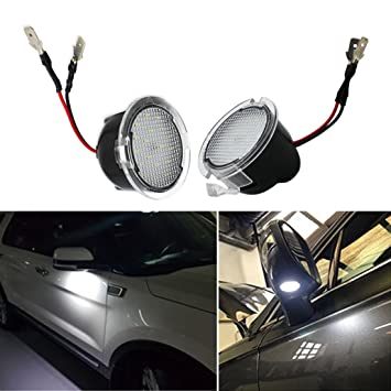 2pcsCar LED Under Mirror Logo Welcome Light For LINCOLN MKZ MKS MKX MKT NAVIGATOR LS LT led puddle lamp Ghost Shadow Projector Mirror lights with logos For Lincoln