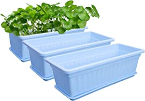 MOHENA Flower Window Box - Pack of 3, Plastic Rectangular Window Planters with Trays Vegetables Growing Container Garden Flower Plant Pot for Balcony, Windowsill, Patio, Garden - Blue