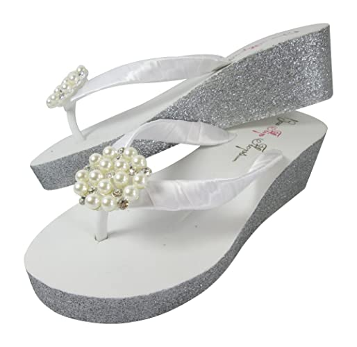 ff65bb8db Amazon.com  Pearl Flip Flops for Bridal Sandals with Custom Glitter Painted  Side  Handmade