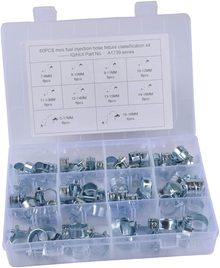 60Pcs 10 Sizes 304 Stainless Steel Mini Fuel Injection Style Hose Clamp Assortment Kit Plant /& Construction Agriculture Perfect for Automotive
