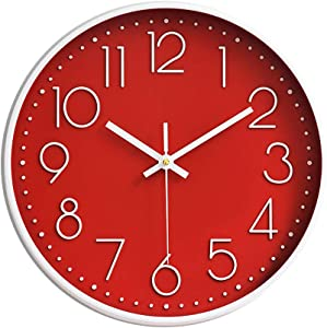 Preciser Kitchen Wall Clocks 12 Inch Vintage Style Non-Ticking Wall Clock Battery Operated Quartz Analog Silent Movement Large Decorative Clock Arabic Numerical for Home Office Decor - Red