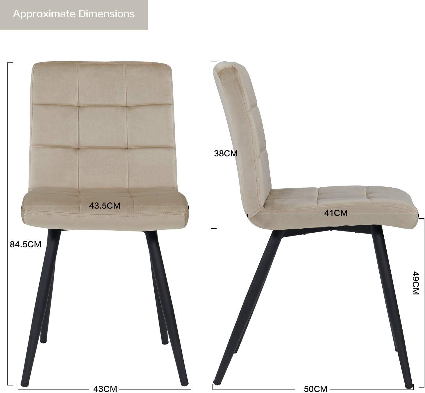 materiale:velluto colore:beige 4x Sedia da sala da pranzo in tessuto velluto sedia imbottita design retro con piedini in metallo vintage selezione colore Duhome 8043B