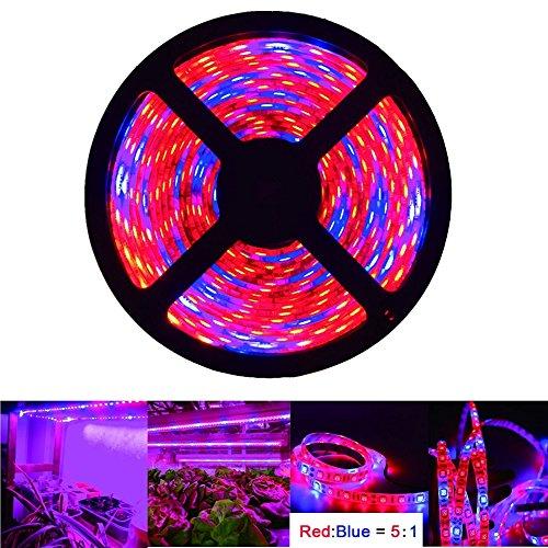 LED Strip Lights, OUEVA 16.4ft/5M Plant Light Strip SMD 5050 Waterproof Grow Light Full Spectrum Rope lights for Aquarium Greenhouse Hydroponic Plant, Garden Flowers Veg Grow Light DC 12V (5:1)