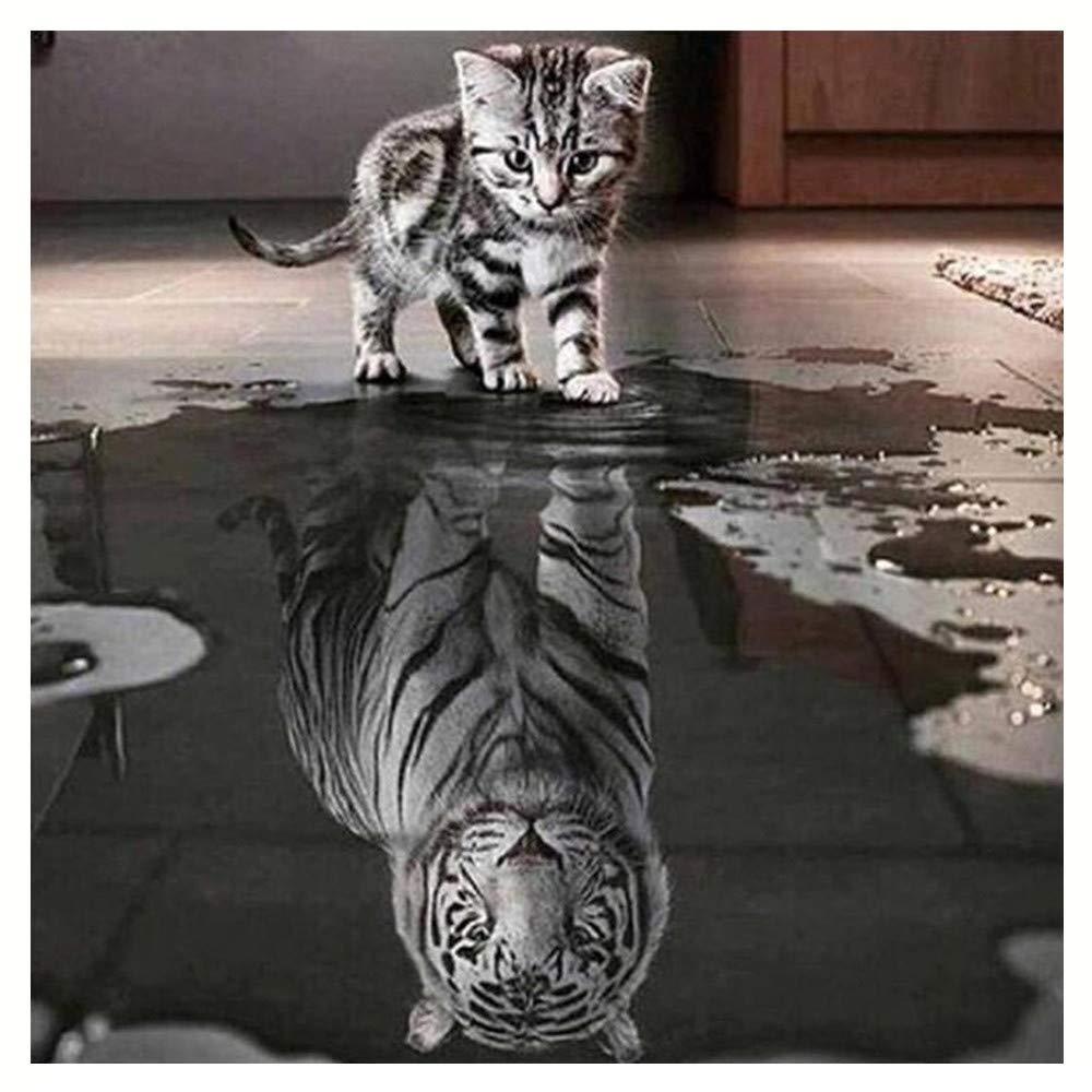 ♚Rendodon♚ Home Decoration, 5D DIY Diamond Painting Cat Reflection Tiger Cat and Tiger DIY 5D Diamond Embroidery Painting Cross Stitch Home Decor Craft (B:30x40cm)