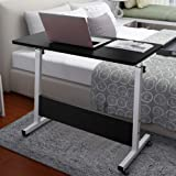 Allywit Folding Computer Desk 80cm40cm Computer Desk Cart, Height-Adjustable from 55cm to 73cm, Rotated 180 Degrees (Black)