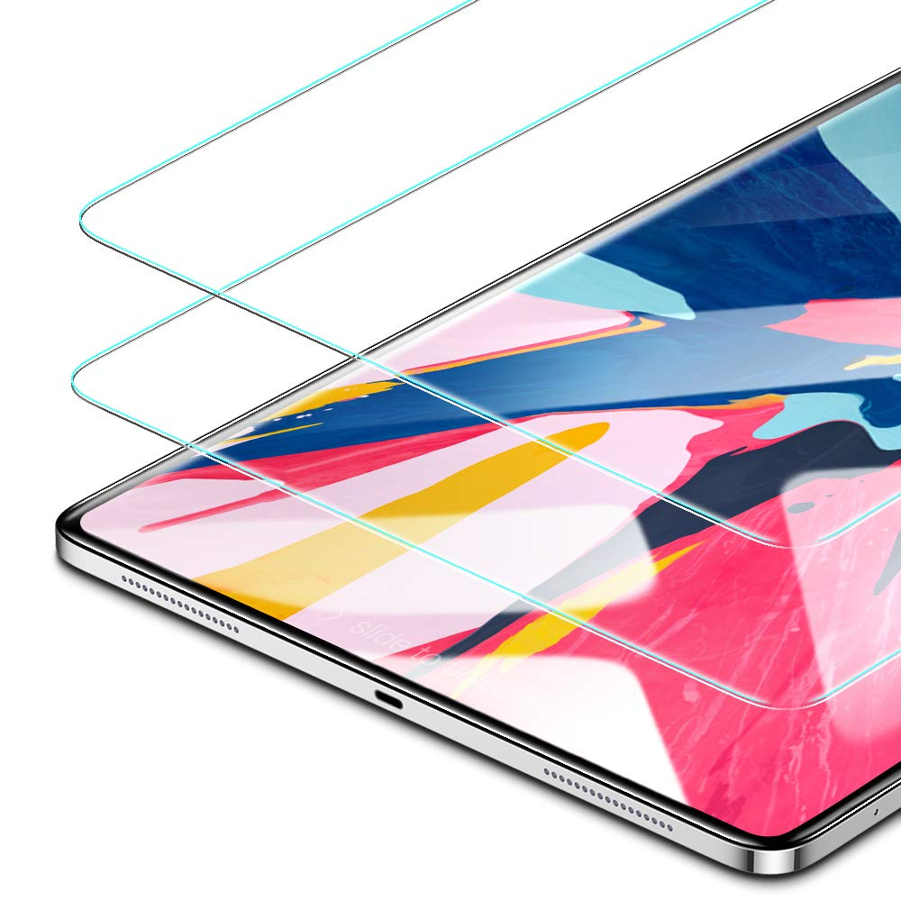 ESR Screen Protector for the iPad Pro 12.9 [2 pack], 3X Stronger [Scratch-Resistant] 9H Hardness HD Clear Premium Tempered Glass Screen Protector for the All-Screen Apple iPad Pro 12.9 inch (2018 Release)