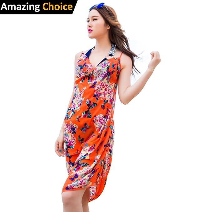 bc2b6de3b7f Aimon Women Flower Printing Spaghetti Strap Beach Dress Backless Bikini  Cover up (Butterfly Orange)