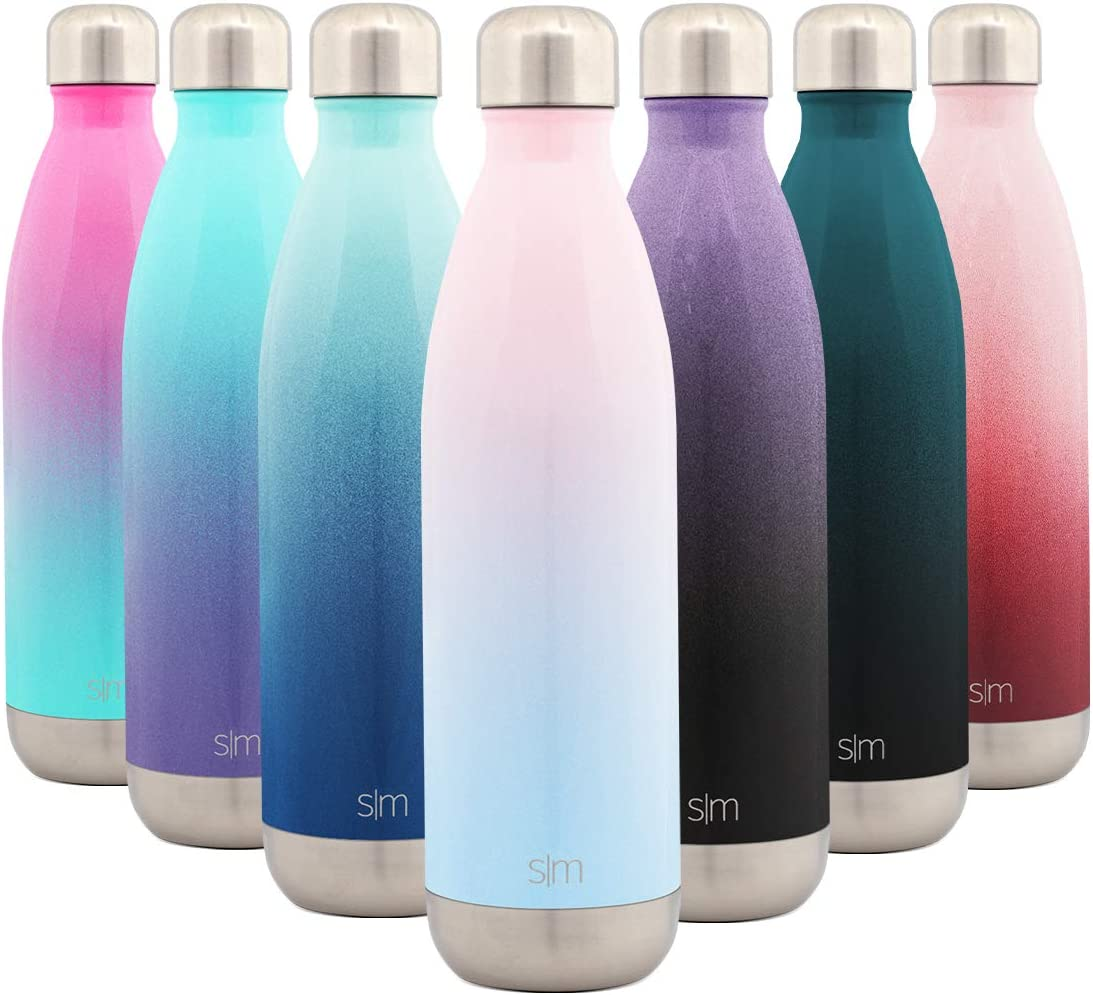 Simple Modern 25 Ounce Wave Water Bottle - Stainless Steel Double Wall Vacuum Insulated Metal Reusable - Leakproof Ombre: Sweet Taffy