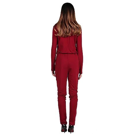 8e230ca7ed13ec LAEMILIA Elegant Damen Jumpsuit Langarm V-Ausschnitt Hosenanzug Playsuit  Overall Suit Einteiler Catsuit Party Abendmode: Amazon.de: Bekleidung
