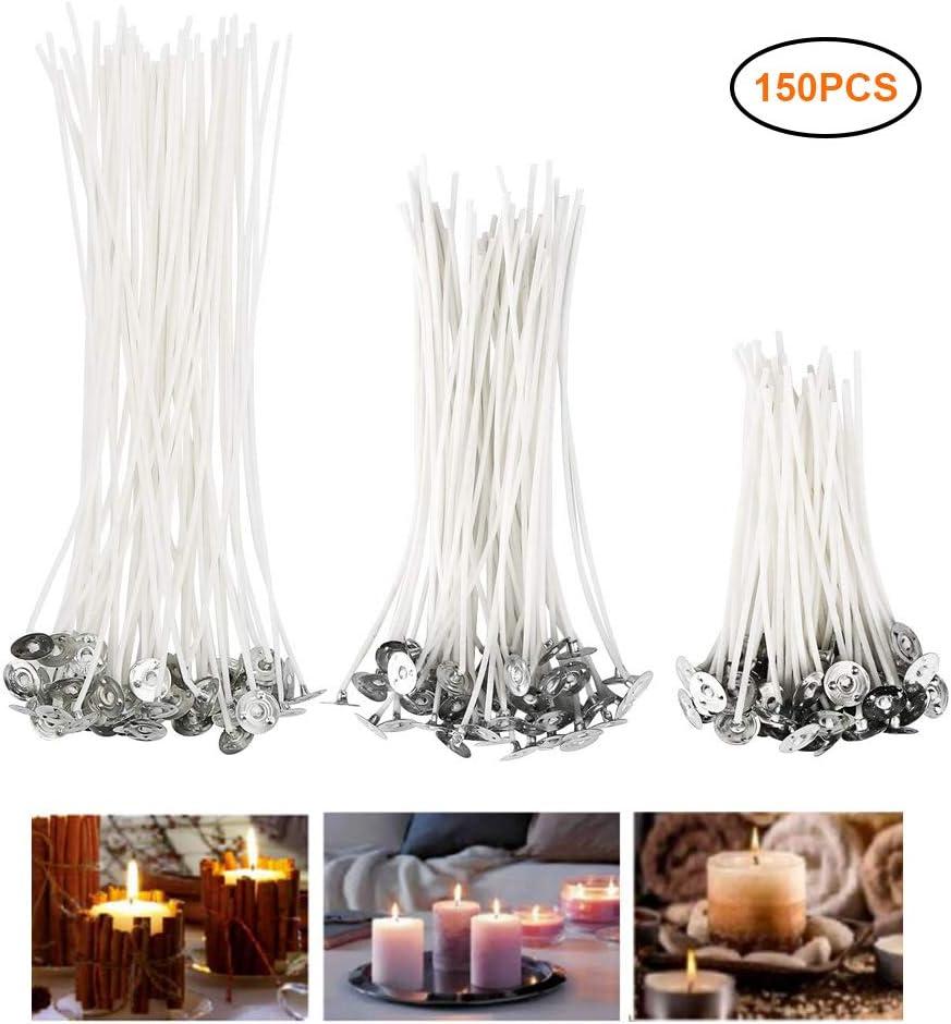 Amandia Lot de 150 m/èches de bougie pr/é-cir/ées pour fabrication de bougies 9 cm, 15 cm et 20 cm
