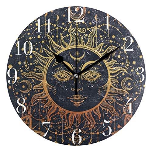 FunnyCustom Round Wall Clock Vintage Sun Face Moon Star Ethnic Acrylic Creative Decorative for Living - Sun Clock Face Wall