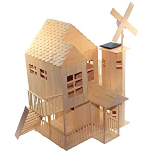 Pica Toys 3D Wooden House with Solar Windmill and Electric Light | Physical Circuit Education Building Model - Pure Real Wood Science Stem Kit | DIY Creative Experiment for Kids, Teens and Adults