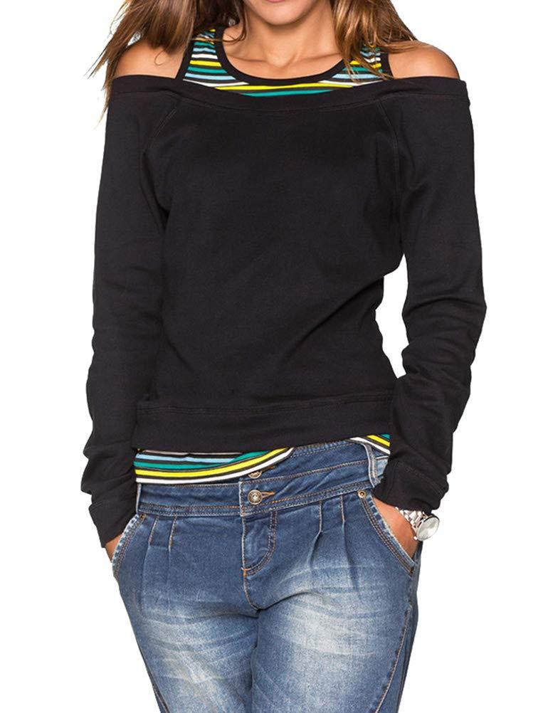 ZXZY Women Round Neck Stripe Splicing Cold Shoulder Long Sleeve Slim Shirt Tops Blouse