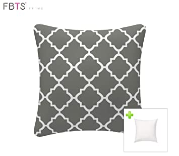 Outdoor Decorative Pillows With Insert Grey Patio Accent Pillows Throw Covers 18x18 Inches Square Patio Cushions For Couch Bed Sofa Patio Furniture